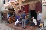 Vendedores de alfombras en Kashgar
